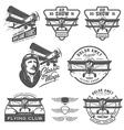 Set of vintage biplane emblems design elements vector image