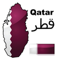 Map and flag of Qatar vector image