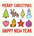 Merry christmas and happy new year toys vector image