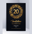 20 years anniversary invitation card template vector image vector image