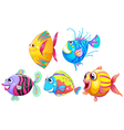 A group of smiling fishes vector image vector image