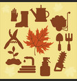 autumn agricultural icons with autumn leaves 2 vector image vector image
