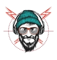 bearded man listening a music in headphones vector image vector image