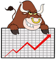 Brown Bull With Business Graph vector image