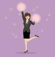 Business woman cheerleader vector image vector image