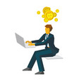 businessman thinking about gold bitcoins vector image