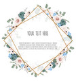 card with leaves and geometrical frame floral vector image vector image