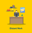 cartoon distant work man at table vector image vector image