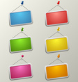 Colorful blank labels with pins template vector image vector image