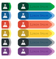 Conical Flask icon sign Set of colorful bright vector image vector image