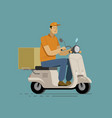 courier rides on scooter delivery vector image