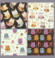 cute owls seamless patterns set funny animals vector image vector image