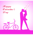 Doodle lovers a boy and a girl riding tandem bicy vector image