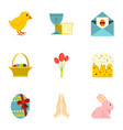 easter holiday icon set flat style vector image