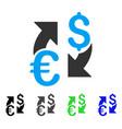 euro dollar exchange flat icon vector image vector image