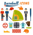 flat design icons of baseball vector image vector image