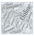 Free Online Computer Training Word Cloud Concept vector image vector image