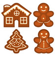 ginger bread cookie icon logo colorful bright set vector image