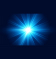 glowing blue lens flare light effect background vector image vector image
