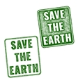 green realistic Save The Earth grunge stamp vector image vector image