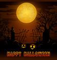 halloween night background with pumpkins in gravey vector image