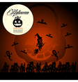 Halloween text full moon pumpkin flying witches vector image