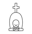happy halloween celebration tombstone with cross vector image vector image