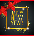 happy new year with ribbon bow decoration vector image vector image