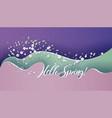 hello spring card bright wavy background vector image