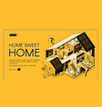 home engineering company isometric website vector image vector image