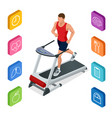 isometric young man in sportswear running on vector image