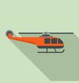 lifeguard helicopter icon flat style vector image vector image