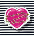 magenta heart sticker with climbing plant around vector image vector image