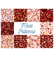 Meat delicatessen sausages seamless patterns vector image vector image