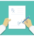 Medical prescription pad flat design style vector image vector image