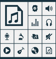 multimedia icons set collection of earphone vector image vector image