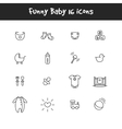 outline black and white 16 baicons set vector image