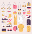 outline woman wardrobe elements clothes shoes vector image