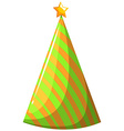Party hat in orange and green striped vector image vector image