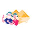 senior couple in safari hats is taking selfie near vector image vector image