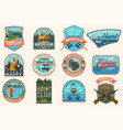 set fishing and hunting club patches vector image vector image