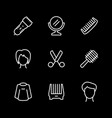 set line icons hairdressing vector image vector image