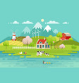 spring village landscape eco living vector image vector image