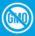stop gmo icon white vector image vector image