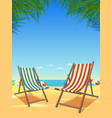 summer beach and chairs background vector image vector image