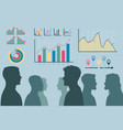 teamwork process male heads silhouettes vector image vector image