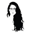 the head of a beautiful girl with glasses face of vector image vector image
