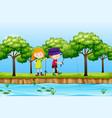 two children fishing lake scene vector image vector image