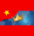 vietnam flag and gold crown and map world vector image