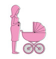 woman pregnant with cart baby vector image vector image